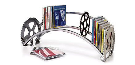 recycled bicycle CD rack
