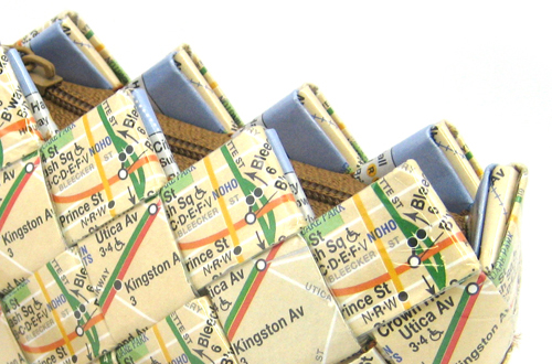 recycled subway map purse