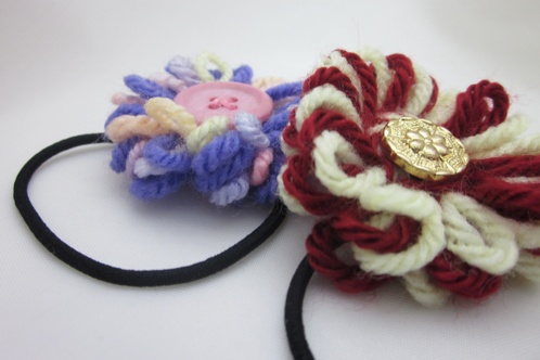 yarn flower hairpiece