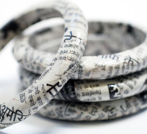 recycled newspaper bracelet