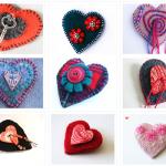 recycled wool felt hearts